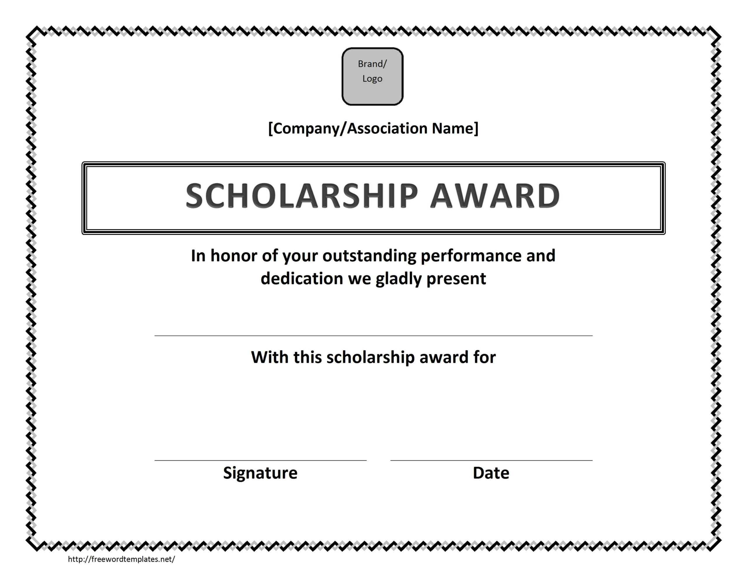 Scholarship Award Certificate Template Pertaining To Scholarship Certificate Template Word