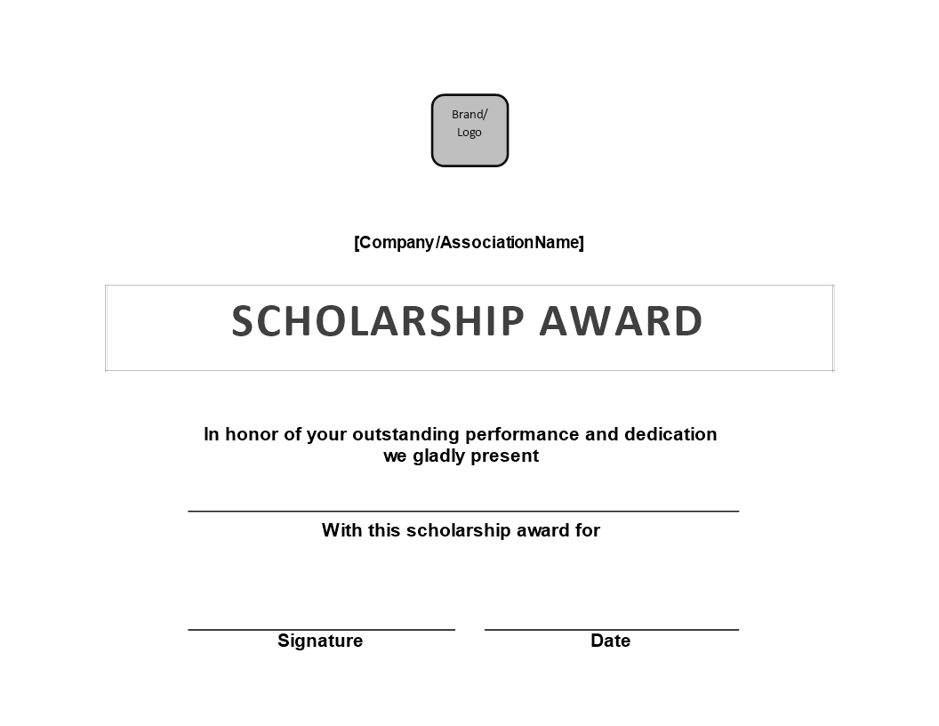 Scholarship Award Certificate | Templates At With Scholarship Certificate Template