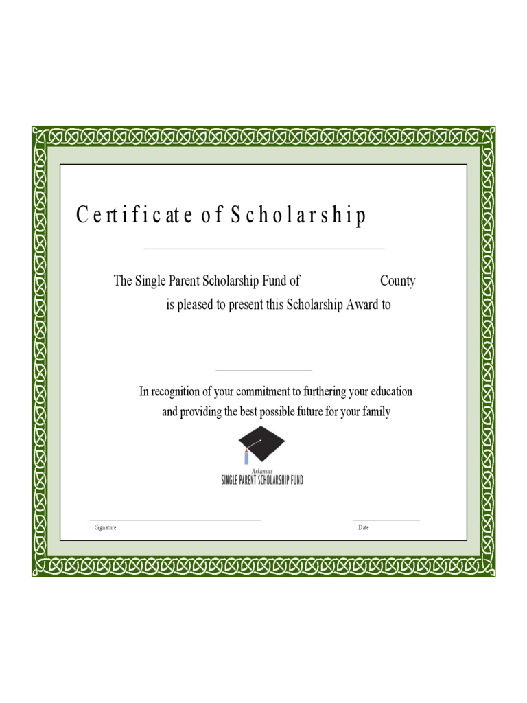 Scholarship Certificate – 3 Free Templates In Pdf, Word Throughout Scholarship Certificate Template