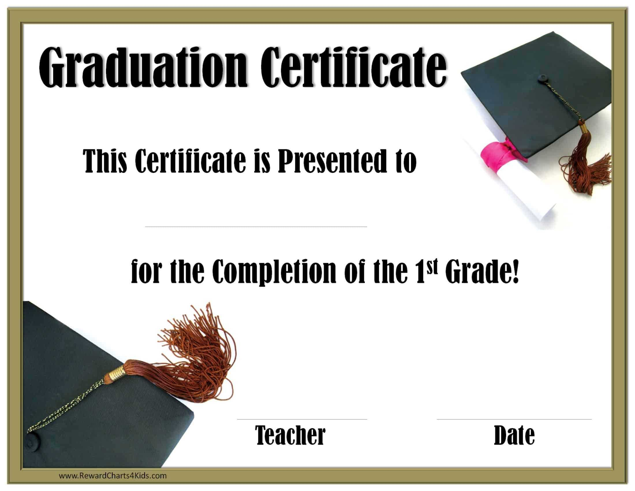 School Graduation Certificates | Customize Online With Or With Regard To 5Th Grade Graduation Certificate Template