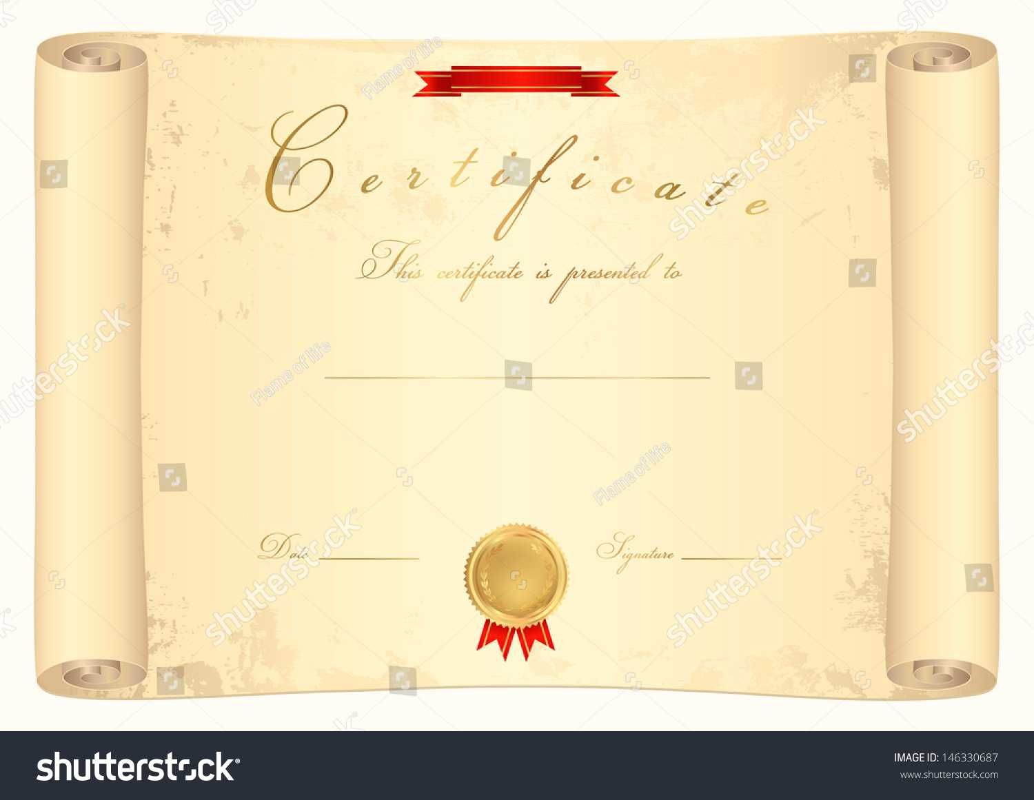 Scroll Certificate Completion Template Sample Background Regarding Scroll Certificate Templates