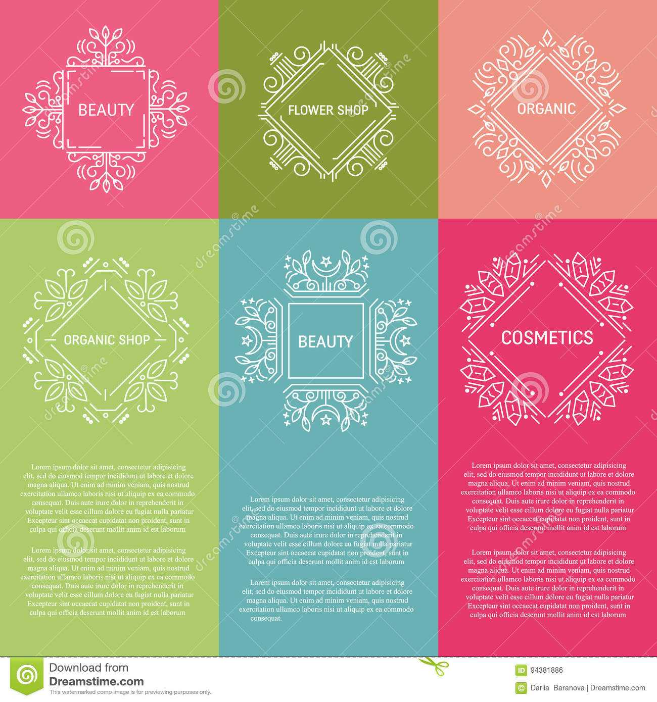 Set Of Flyer With Geometric Emblems Stock Vector Throughout Chiropractic Travel Card Template