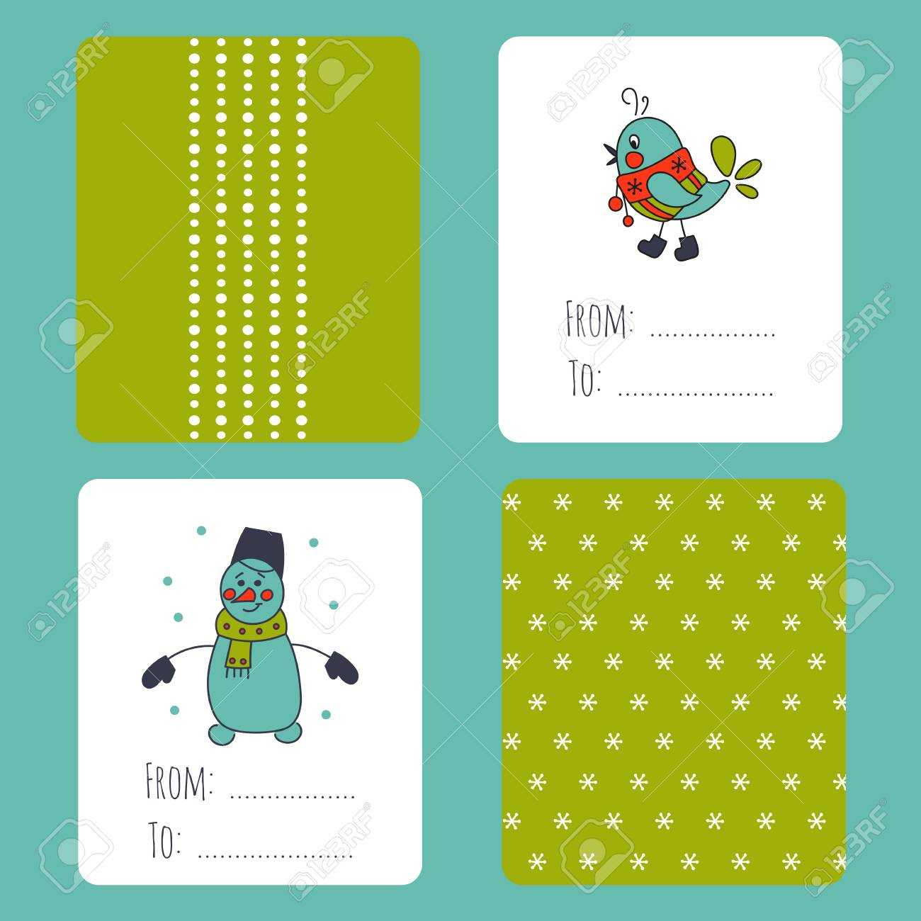 Set Of Winter Small Card Templates. Collection For Christmas.. Inside Small Greeting Card Template