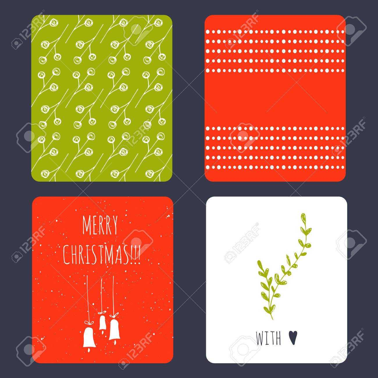 Set Of Winter Small Card Templates. Collection For Christmas.. Intended For Small Greeting Card Template