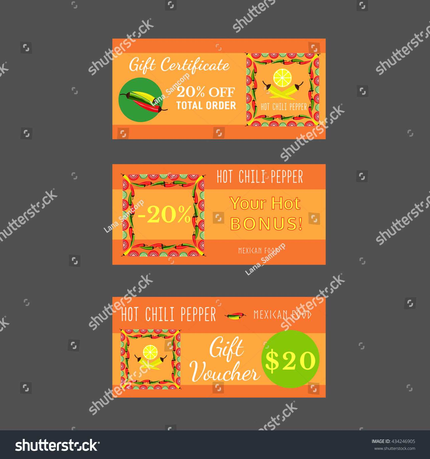Set Templates Mexican Restaurant Gift Certificate Stock With Regard To Restaurant Gift Certificate Template