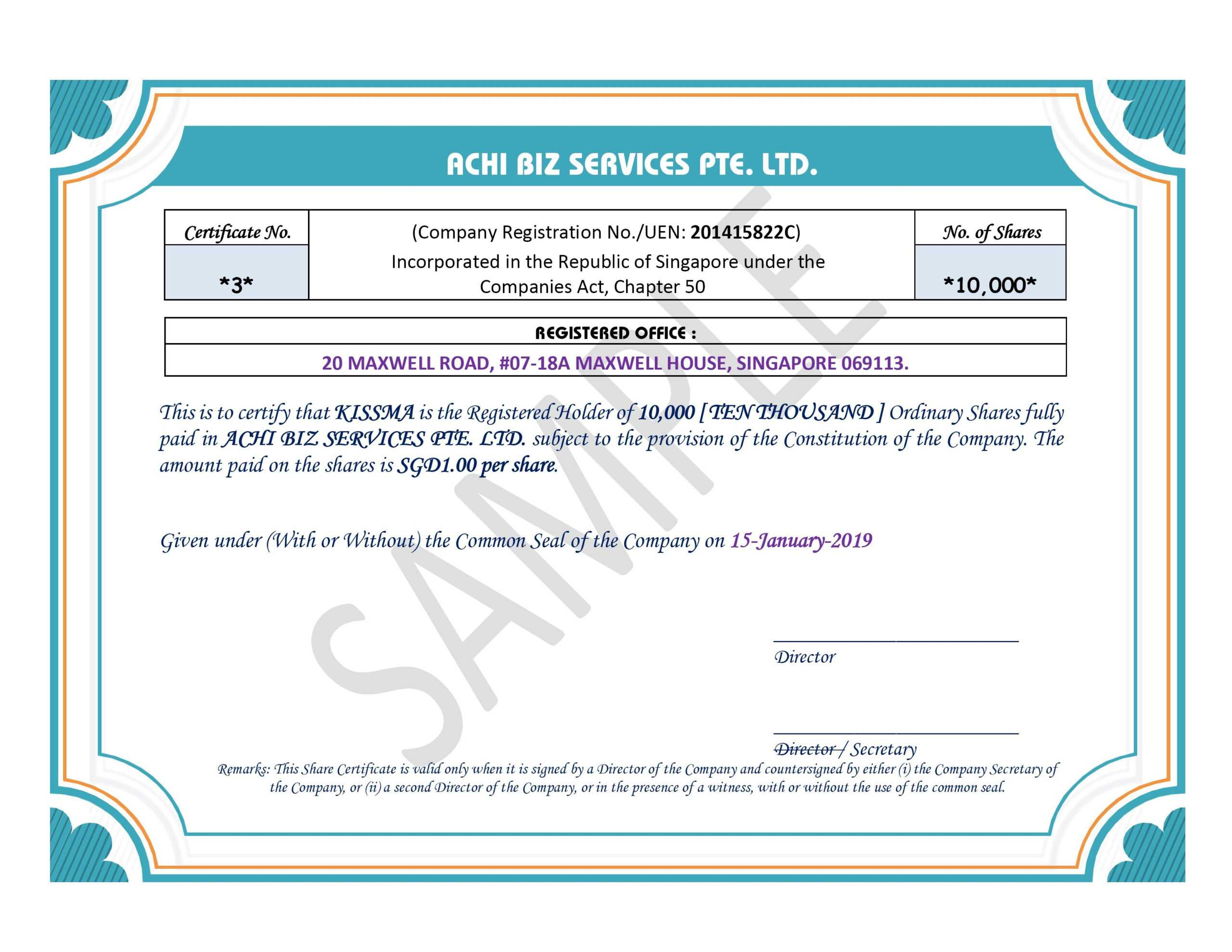 Share Certificate In Singapore ~ Achibiz Within Share Certificate Template Companies House