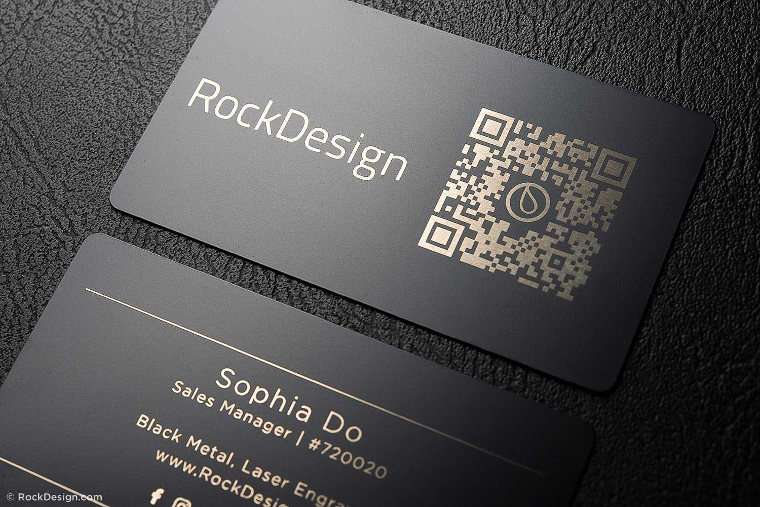 Simple Black Metal Business Cards – Sophia Do With Regard To Qr Code Business Card Template
