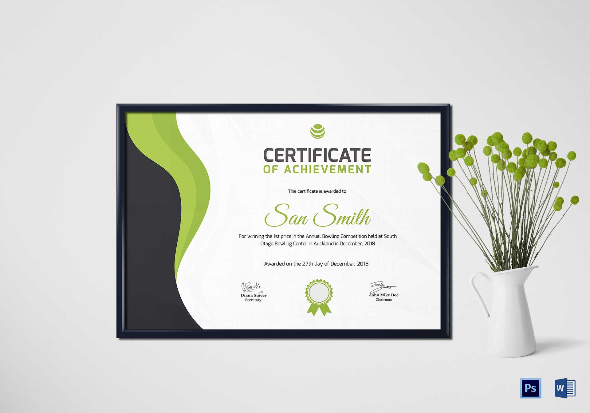 Simple Bowling Award Certificate Template With Regard To Award Certificate Design Template