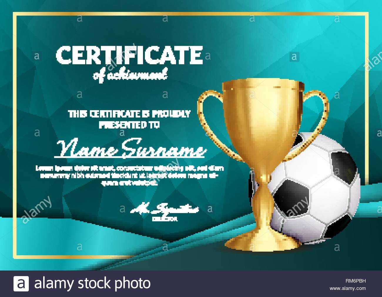Soccer Certificate Diploma With Golden Cup Vector. Football In Soccer Certificate Template