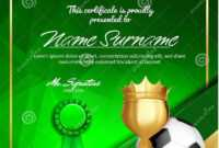 Soccer Certificate Diploma With Golden Cup Vector. Football throughout Soccer Award Certificate Templates Free