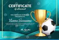 Soccer Certificate Diploma With Golden Cup Vector. Football throughout Soccer Certificate Template Free