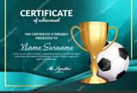 Soccer Certificate Diploma With Golden Cup Vector. Football .. with regard to Soccer Award Certificate Template