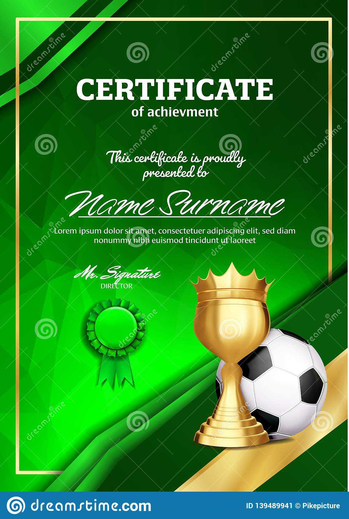 Soccer Certificate Diploma With Golden Cup Vector. Football Within Soccer Certificate Template