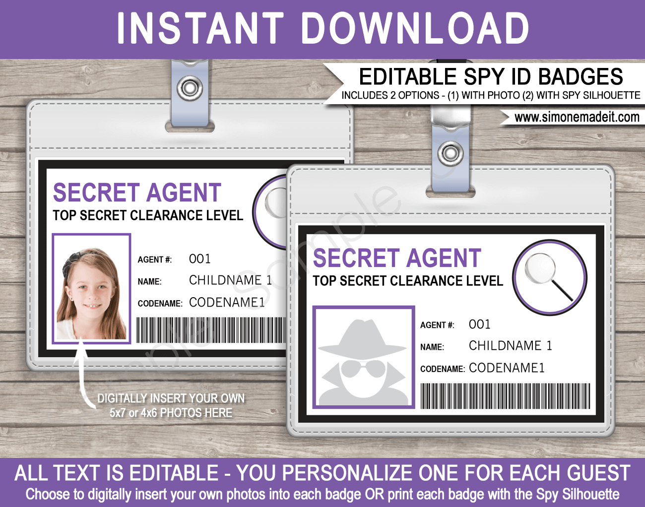 Spy Or Secret Agent Badge Template – Purple Throughout Spy Id Card Template