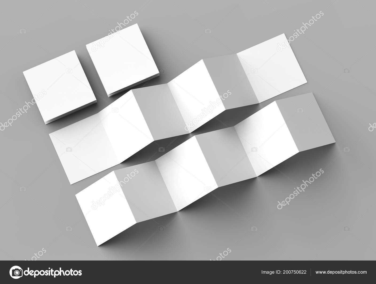 Square Z Fold Brochure | Page Leaflet Panel Accordion Fold Within 12 Page Brochure Template