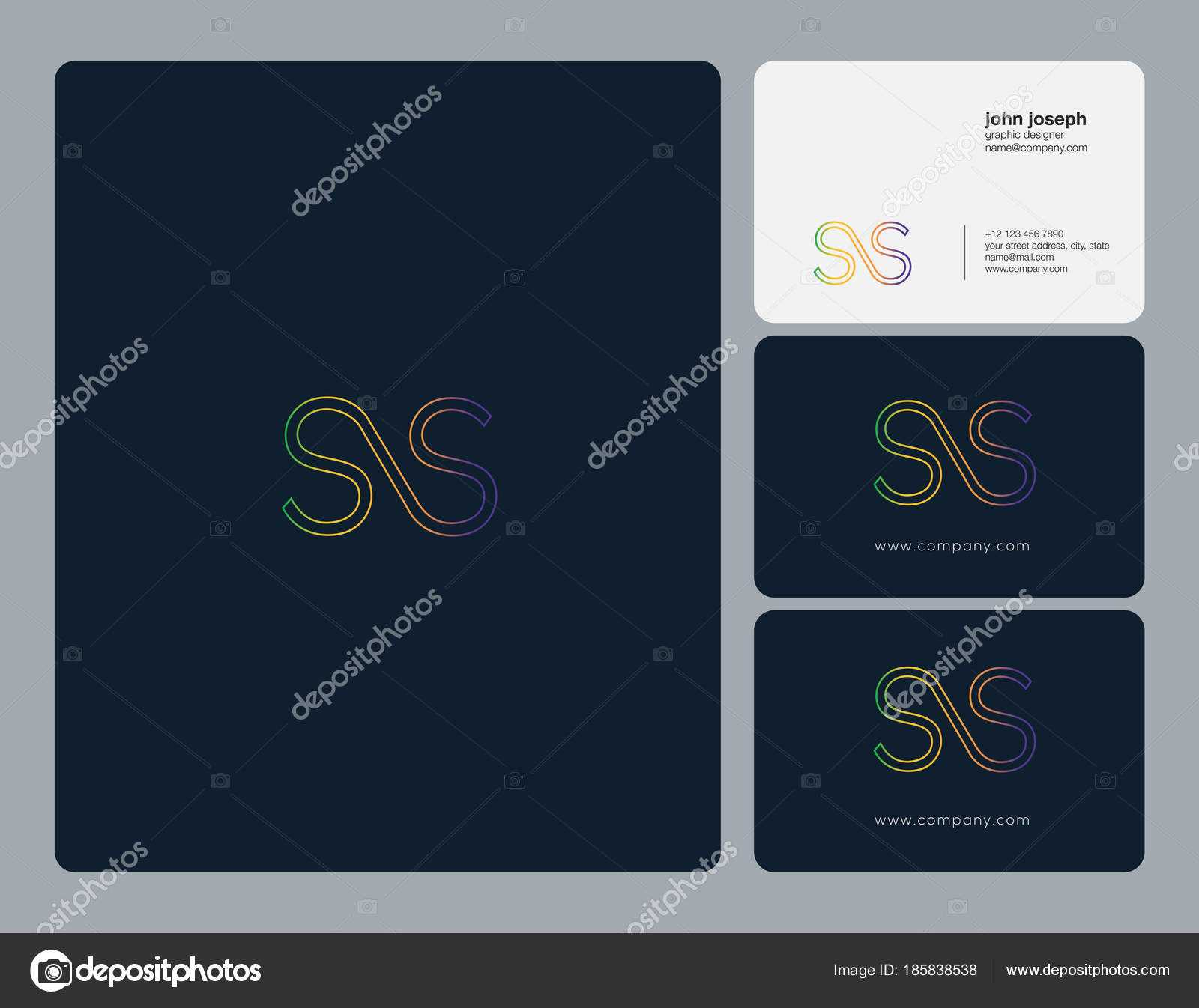 Ss Card Template | Joint Letters Logo Business Card Template In Ss Card Template