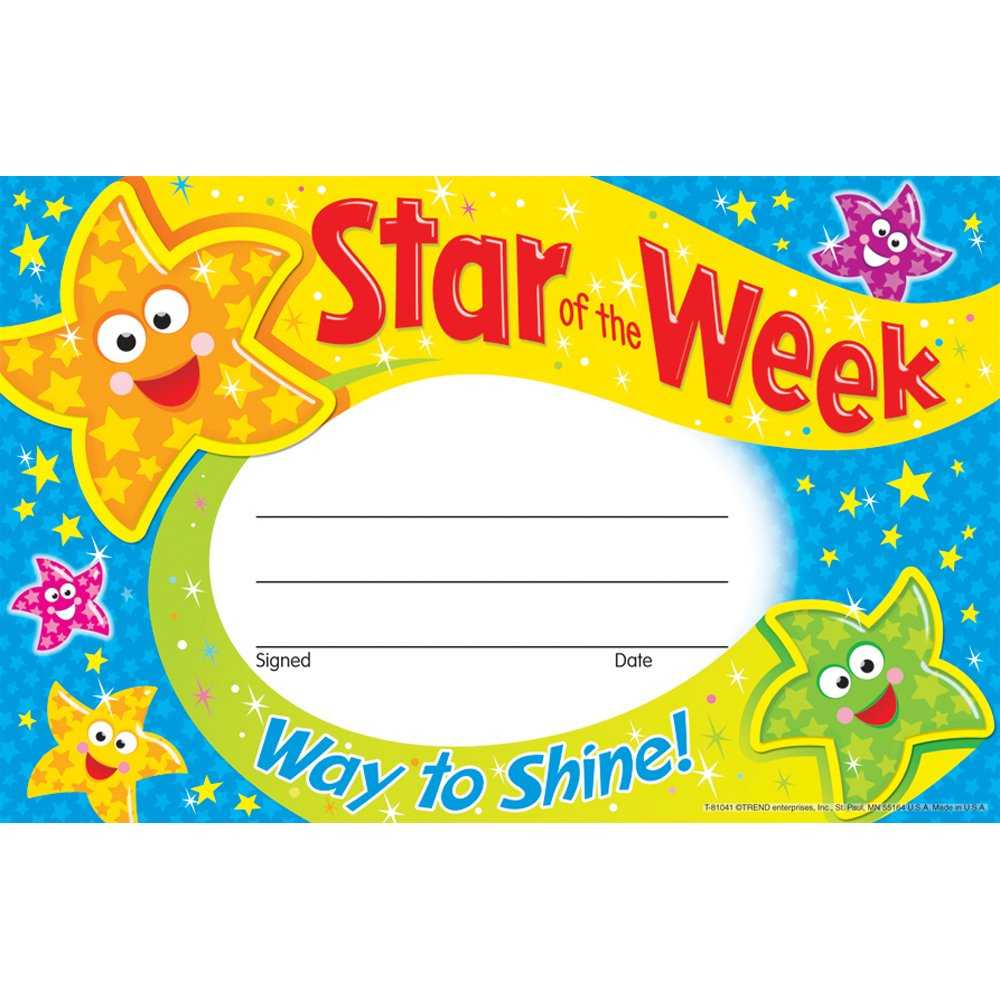 Star Of The Week Certificate Template ] - Of The Week In Star Of The Week Certificate Template