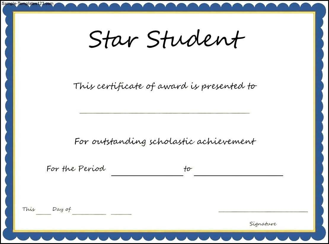 Star Student Award Certificate Template – Sample Templates With Star Award Certificate Template