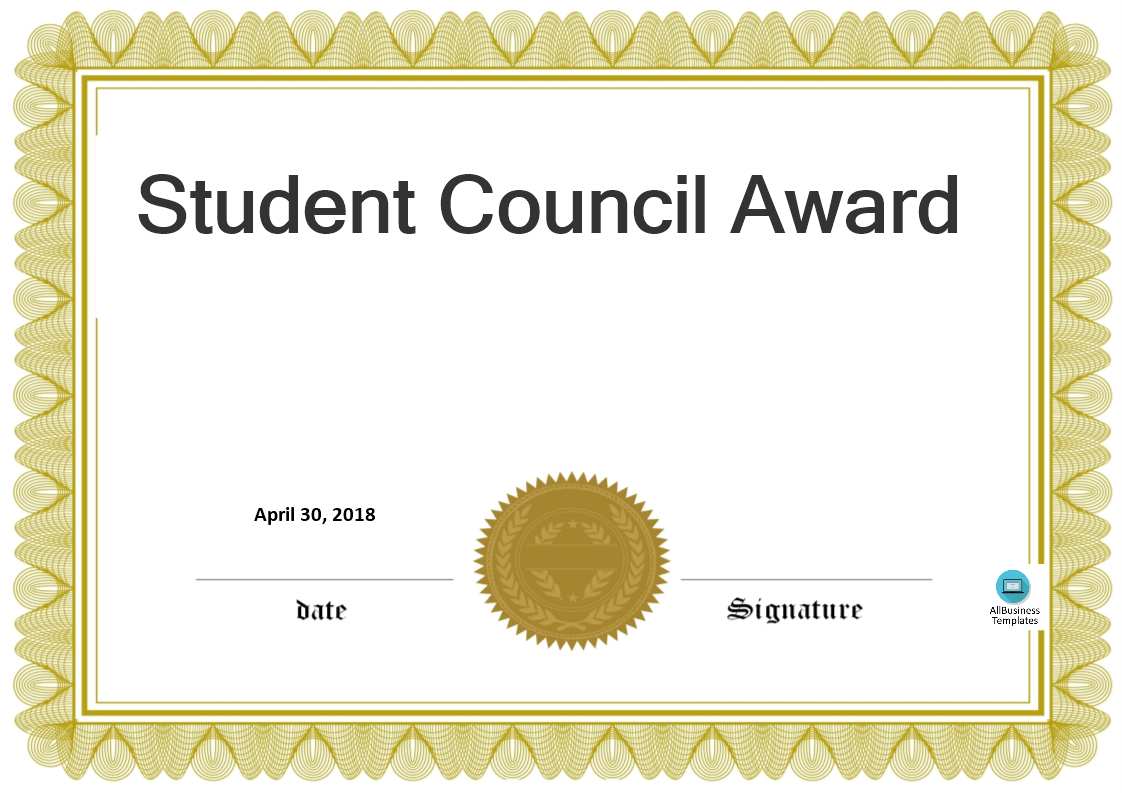 Student Council Award | Templates At Allbusinesstemplates Pertaining To Free Student Certificate Templates