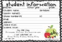 Student Information – Homework Example December 2019 in Student Information Card Template