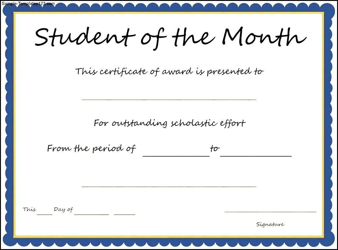Student Of The Month Certificates Free - Zohre In Free Printable Student Of The Month Certificate Templates