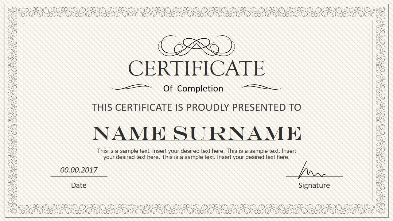 Stylish Certificate Powerpoint Templates Pertaining To Powerpoint Award Certificate Template