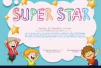 Super Star Award Template With Kids In Background with Star Of The Week Certificate Template