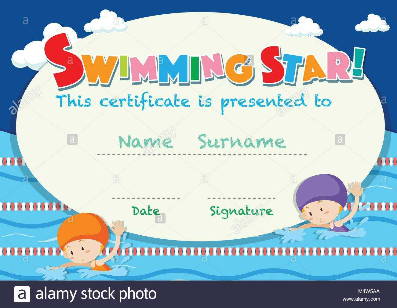 Swimming Certificate Stock Photos & Swimming Certificate Intended For Free Swimming Certificate Templates