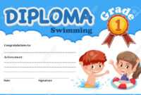 Swimming Diploma Certificate Template Illustration within Free Swimming Certificate Templates