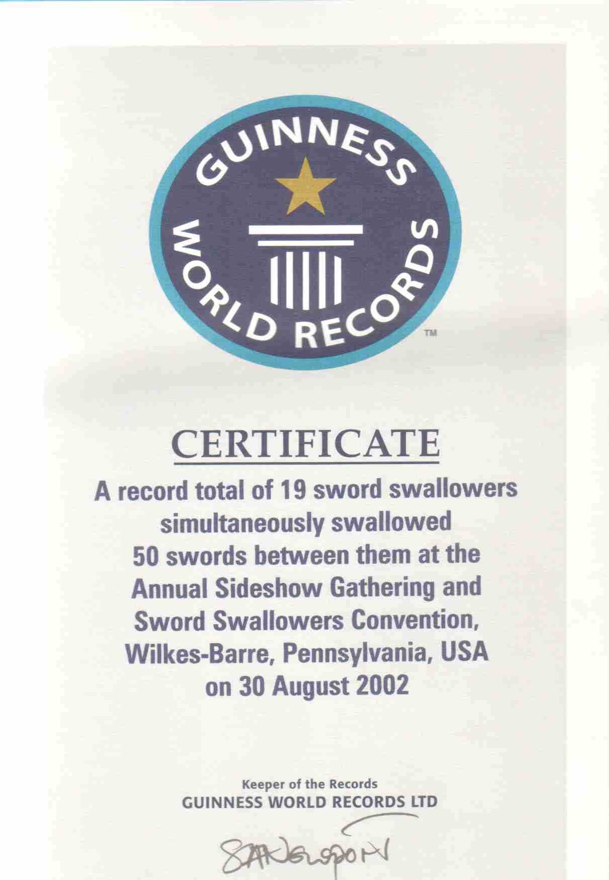 Sword Swallowers Association Intl Ssai Sword Swallowing With Regard To Guinness World Record Certificate Template