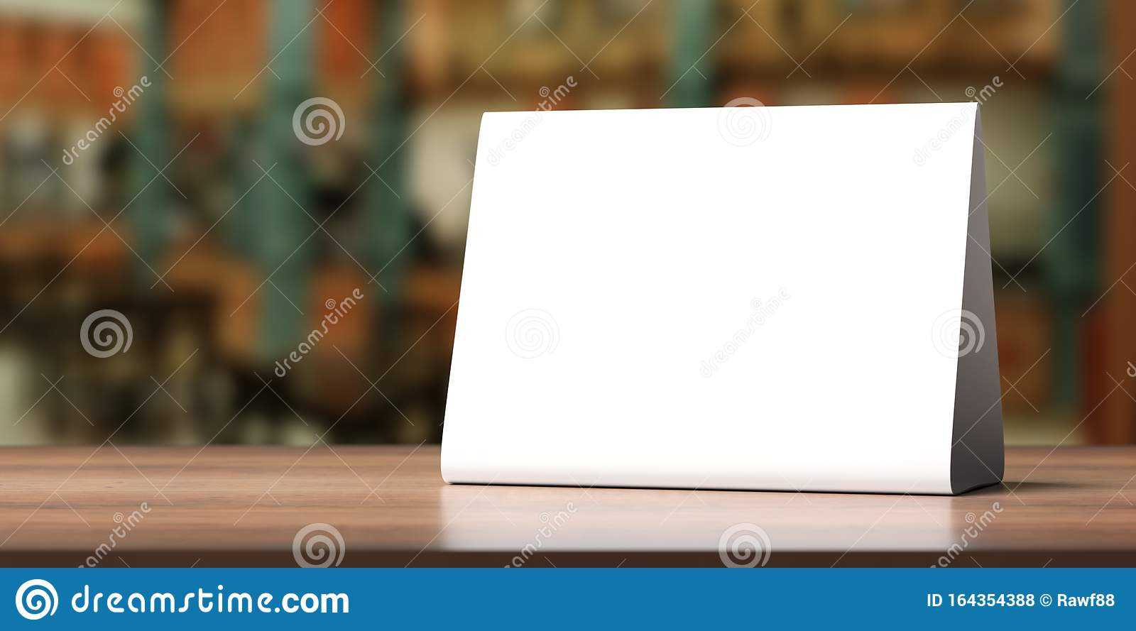 Table Tent, Reserved Card Sign Empty Blank On A Wooden Table For Table Reservation Card Template