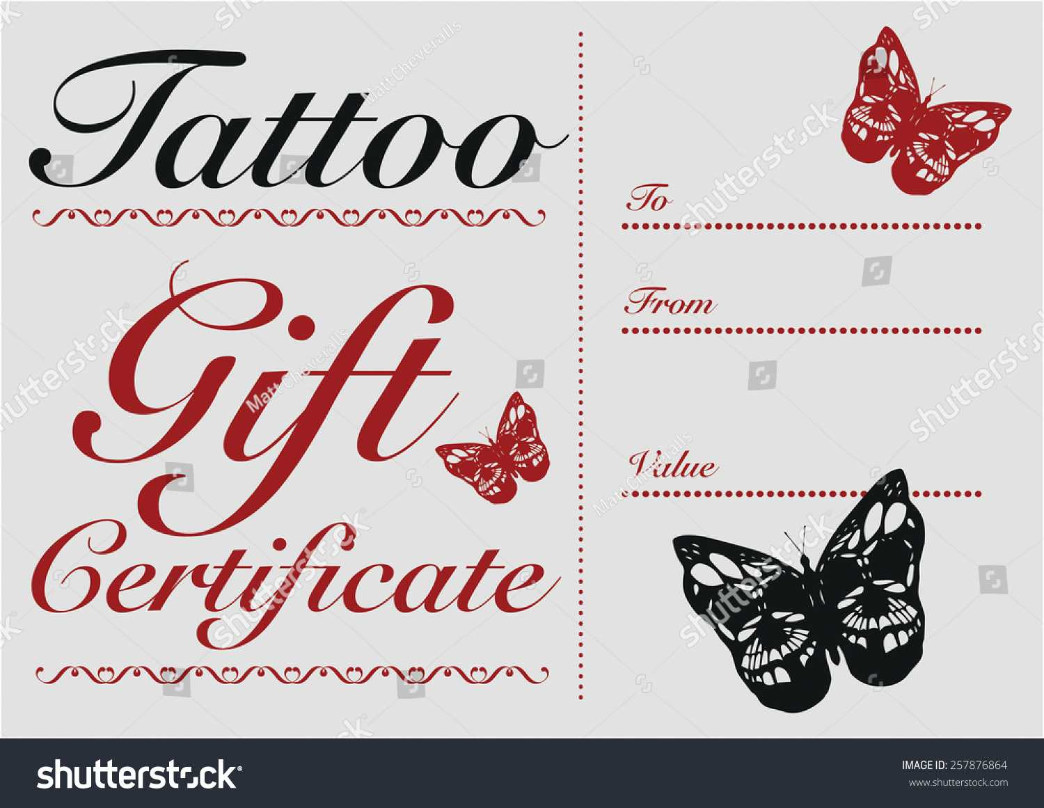 Tattoo Gift Certificate Template Free For Tattoo Gift Certificate Template