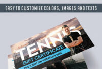 Tennis – Free Gift Certificate Psd Template –Elegantflyer in Tennis Gift Certificate Template