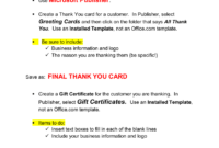 Thank You Card & Gift Certificate Microsoft Publisher . with Publisher Gift Certificate Template