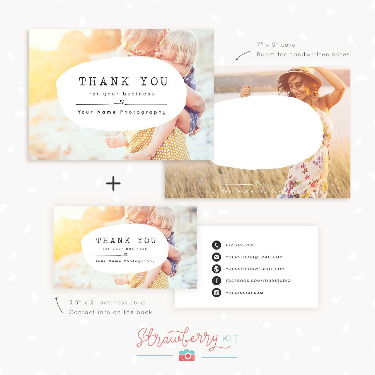 Thank You Note Card For Business | Set Of Two - Strawberry Kit In Thank You Note Cards Template