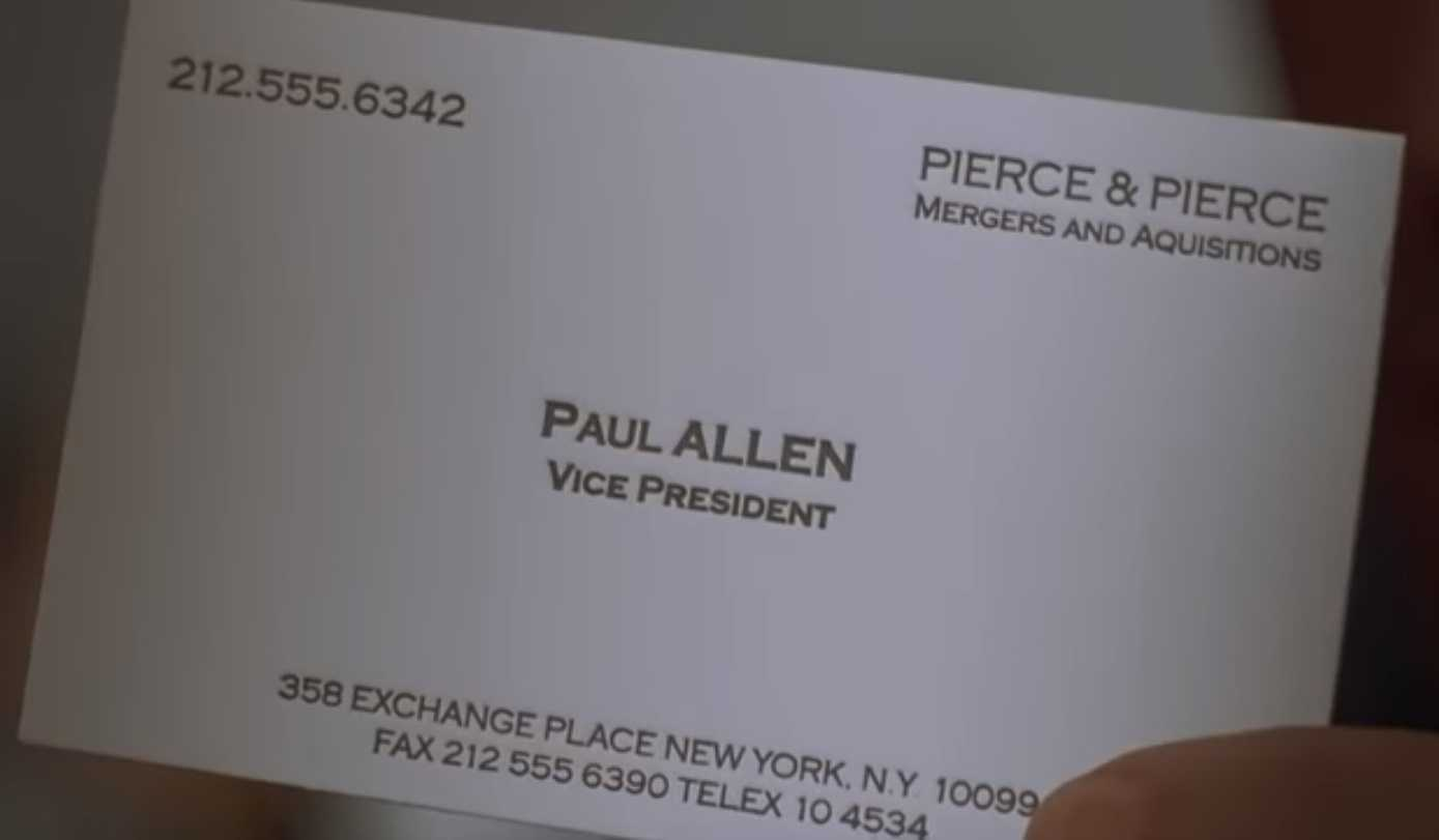 The Business Cards Of American Psycho | Hoban Cards With Regard To Paul Allen Business Card Template