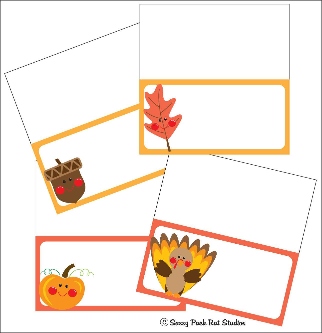 The Sassy Pack Rat: Thanksgiving Place Card Printable Freebie For Thanksgiving Place Card Templates