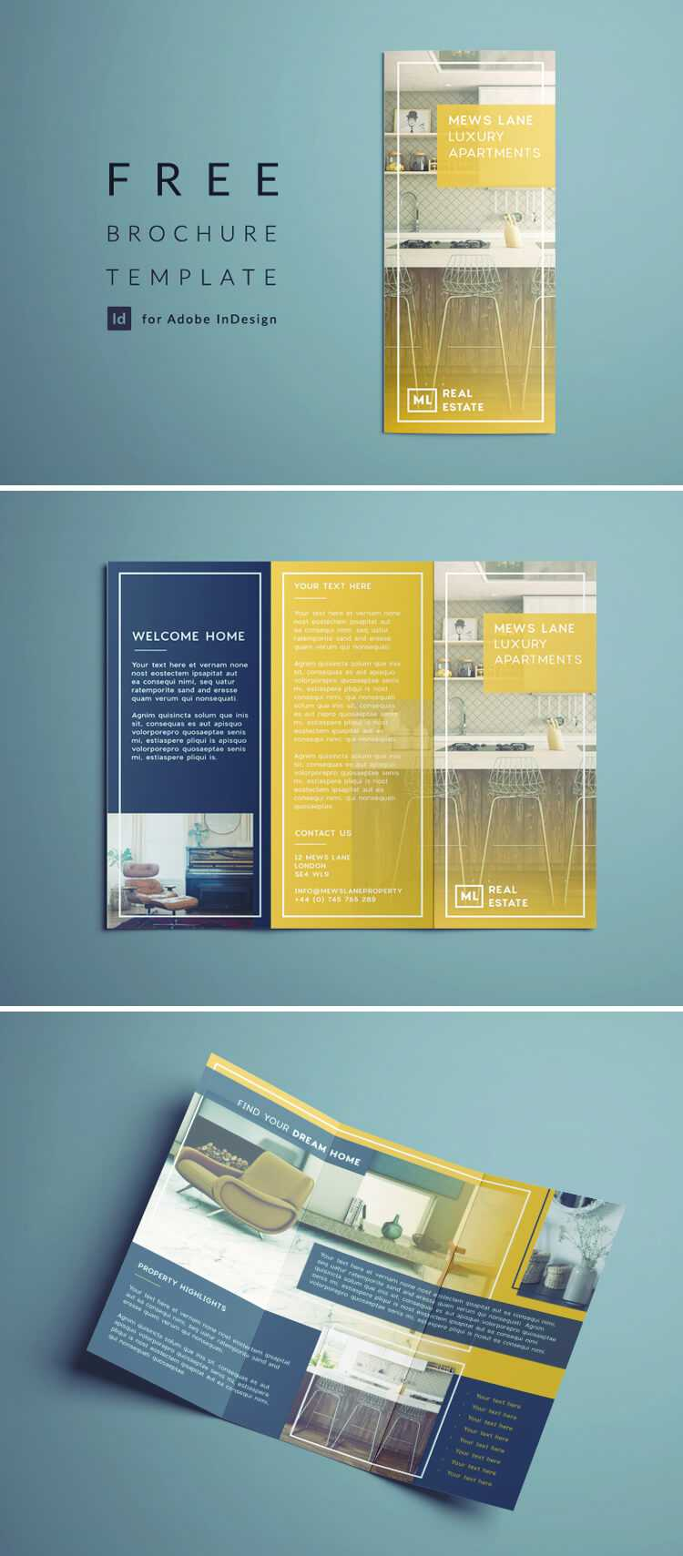 Tri Fold Brochure | Free Indesign Template With Tri Fold Brochure Template Indesign Free Download