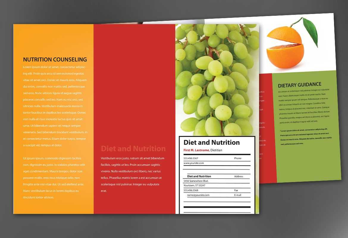 Tri Fold Brochure Template For Health And Nutrition. Order Pertaining To Nutrition Brochure Template