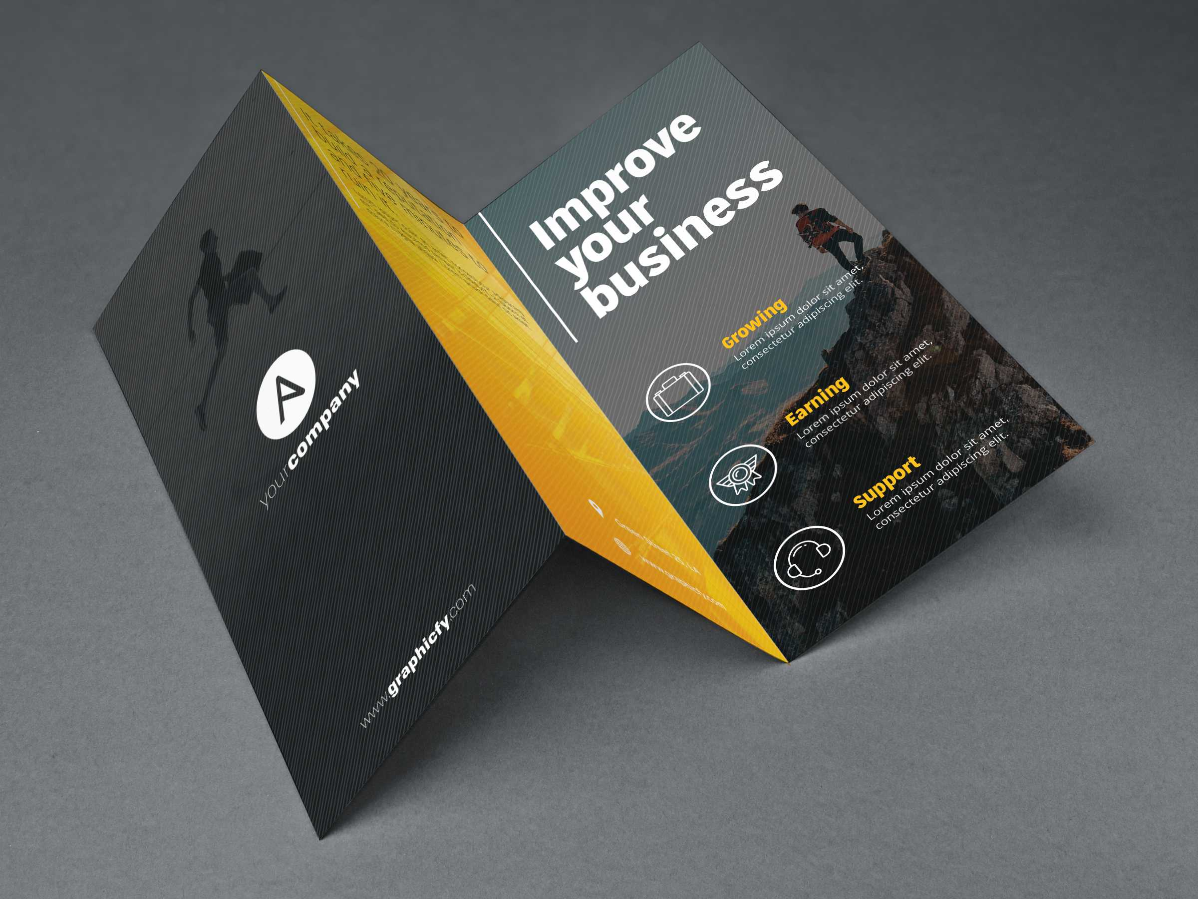 Tri Fold Brochure Template Psd - Graphicfy Market In Brochure 3 Fold Template Psd