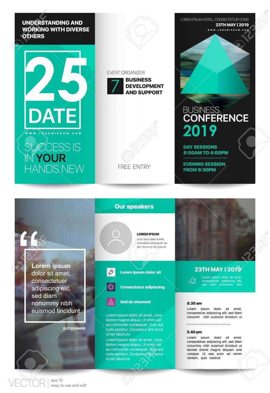 Tri Fold Business Brochure. Creative Corporate Business Template.. With Regard To Free Tri Fold Business Brochure Templates