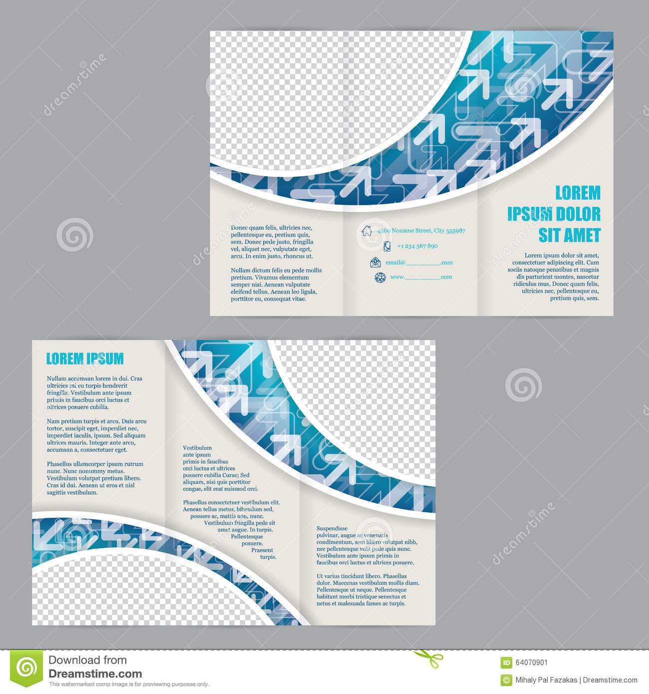 Tri Fold Flyer Template With Arrows On Blue Wave Stock Throughout Z Fold Brochure Template Indesign