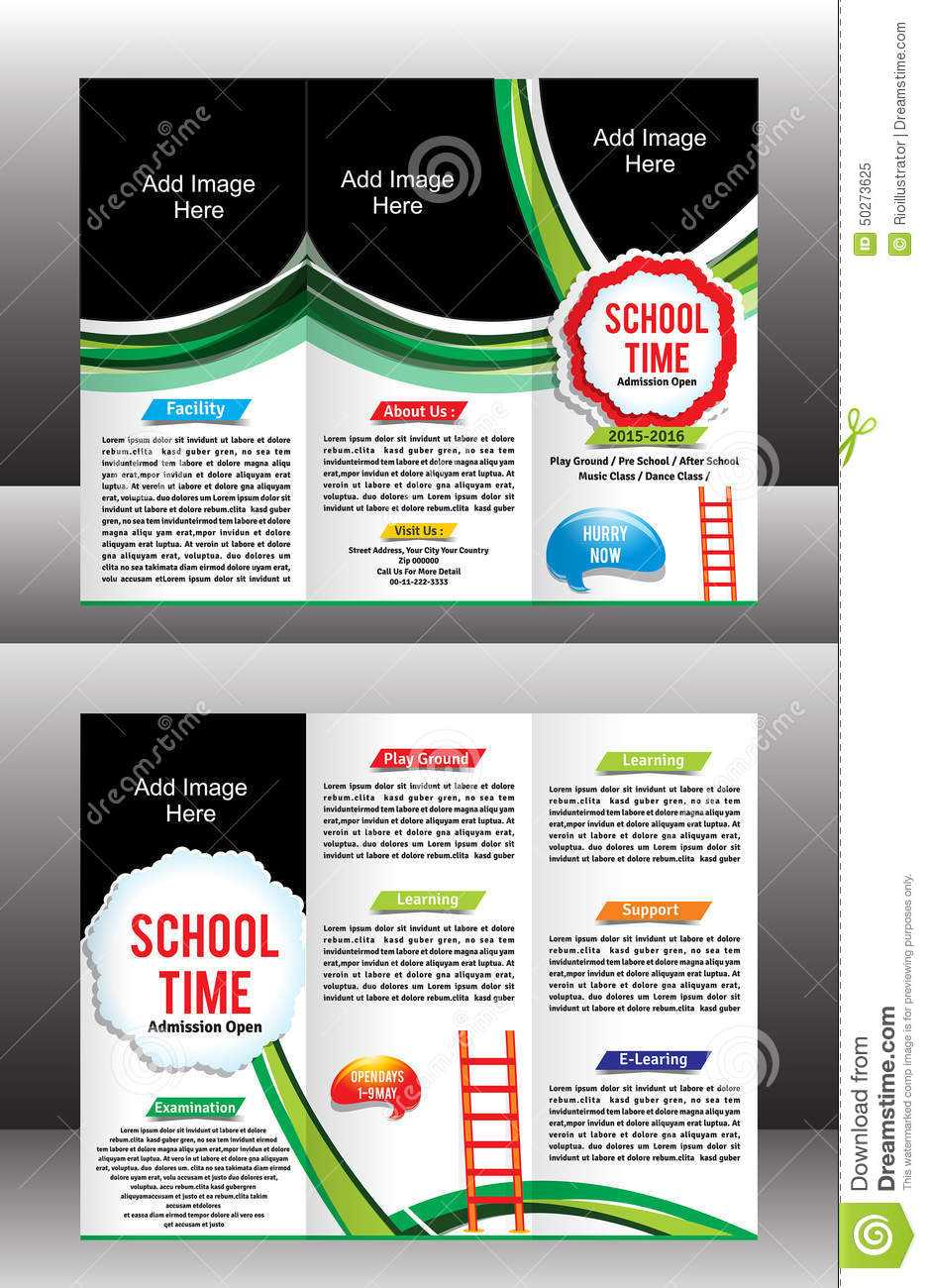 Tri Fold School Brochure Template Stock Vector Throughout Tri Fold School Brochure Template
