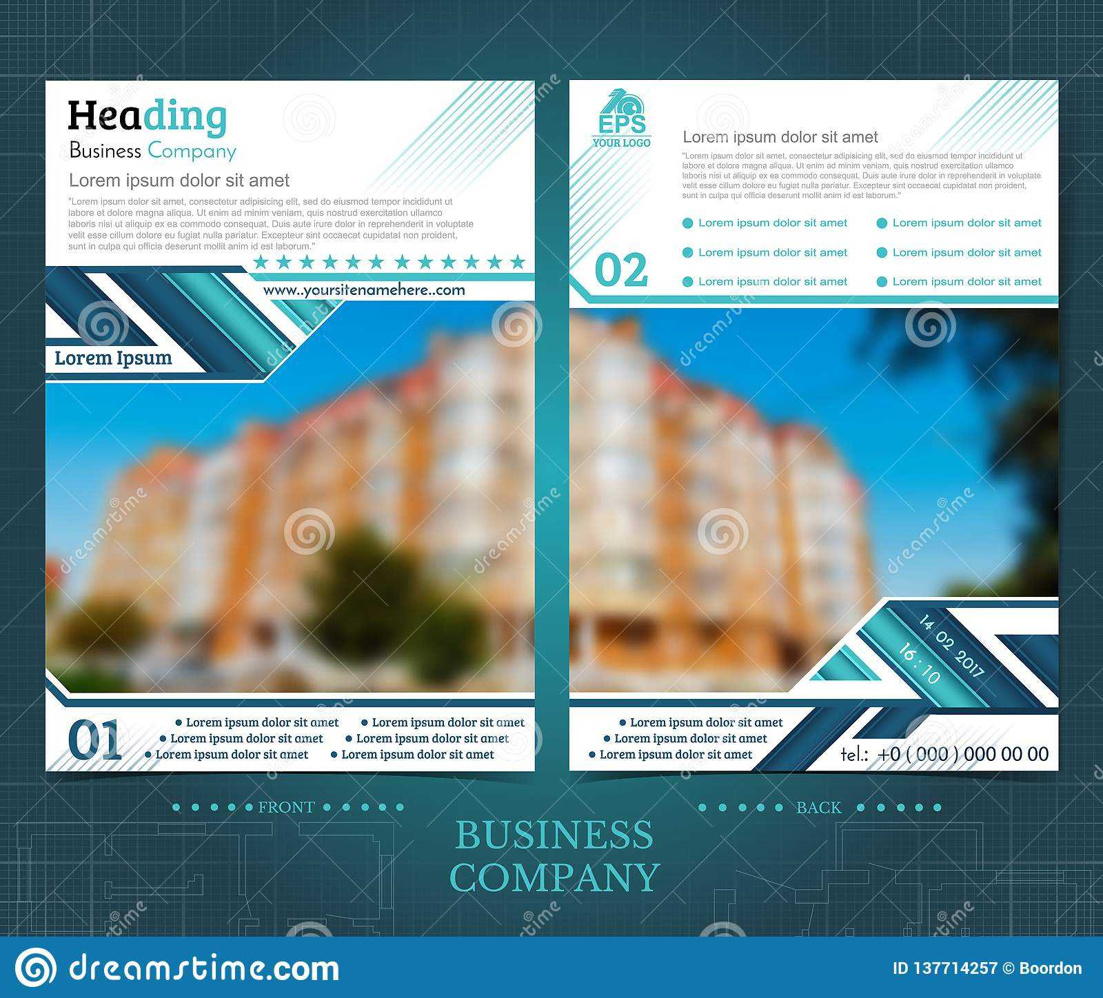 Two Sided Brochure Or Flayer Template Design With One For One Sided Brochure Template