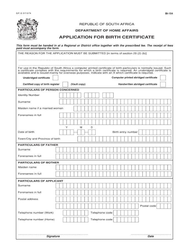 Unabridged Birth Certificate Application Form No Download For South African Birth Certificate Template