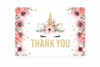 Unicorn Thank You Note Cards Printableslittlesizzle with regard to Thank You Card Template For Baby Shower