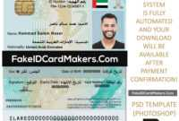United Arab Emirates Id Card Template Psd [Proof Of Identity] with French Id Card Template