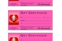 Valentine Gift Certificate With Cash Value   Templates At pertaining to Pink Gift Certificate Template