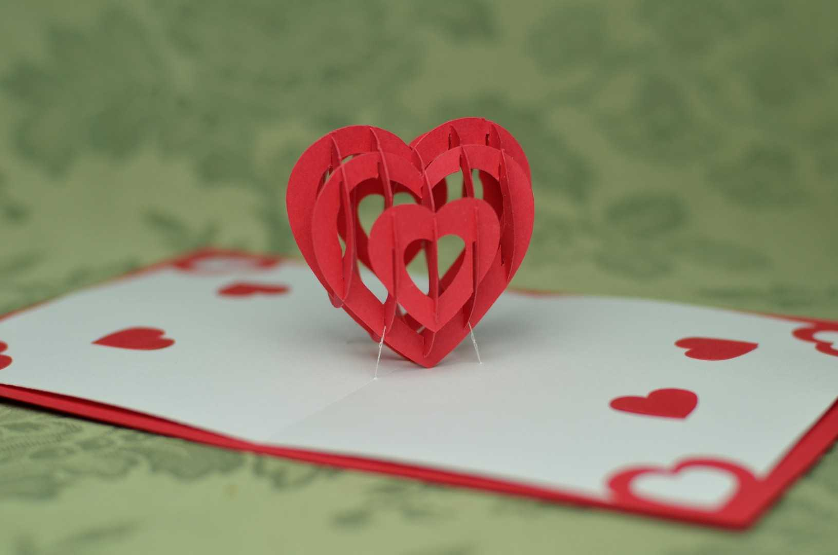 Valentine's Day Pop Up Card: 3D Heart Tutorial - Creative Inside Twisting Hearts Pop Up Card Template