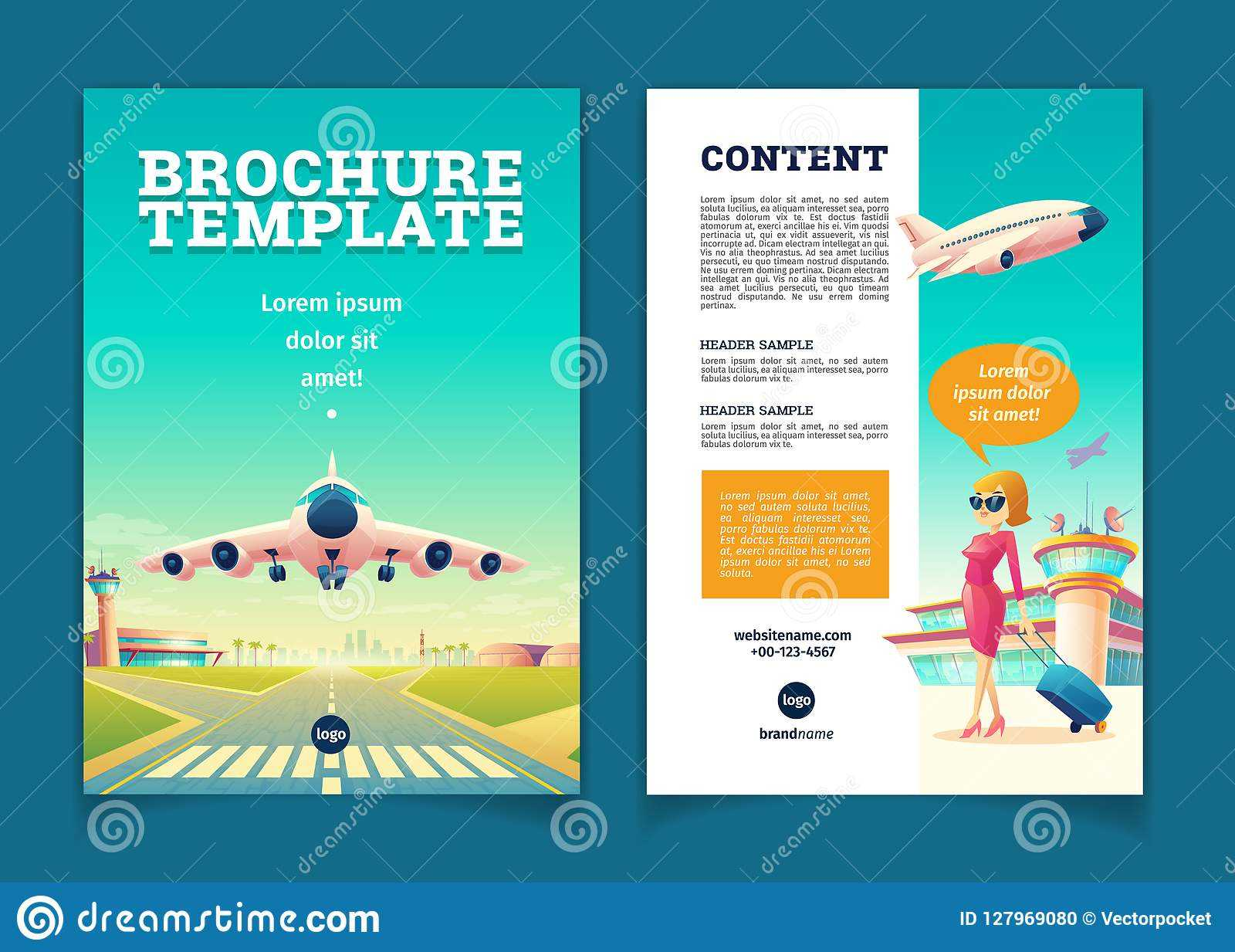 Vector Brochure With Airplane Takeoff, Tourism Booklet Stock For Travel And Tourism Brochure Templates Free